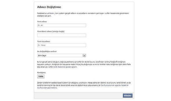 Facebook ad soyad değiştirme