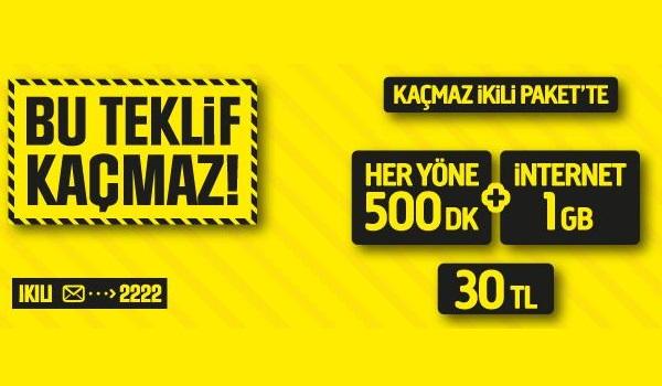 Turkcell heryöne 500 dk 1 gb internet 30 TL
